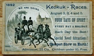 Advertising Card For Horse Races 1892