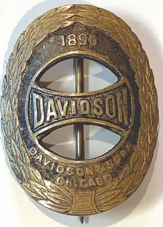 Antique Brass 1896 Davidson & Sons Rare Bicycle Chicago Pin Back