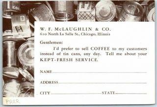 Chicago Coffee Advertising Postcard W.  F.  Mclaughlin & Co.  Inquiry Card C1940s