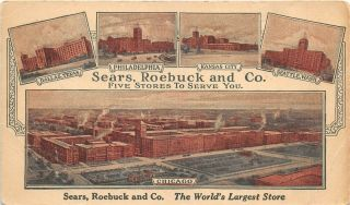 Sears Roebuck & Co Largest Department Store C1915 Advertising Postcard Chicago