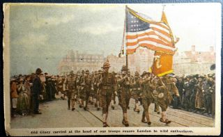 Postcard Wwi Military Patriotic Old Glory Head Troops London Advertising Chicago