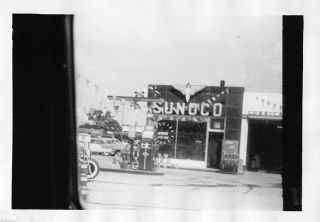 1950s Sunoco Gas Service Station Garage Cars Pumps Advertising Signs Vtg Photo