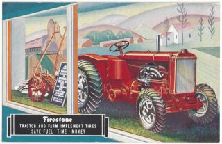 1934 Firestone Farming Tractor Advertising - Food,  Agriculture,  Vintage Postcard