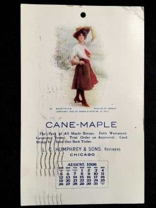 1906 L.  C.  Humphrey & Sons,  Refiners Cane - Maple Syrup Advertising Vintage Postcard