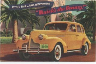 1939 Color Advertising Postcard For The Buick At The Ggie World