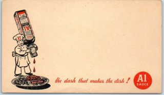 """Vintage A1 Steak Sauce Advertising Postcard """" The Dash That Makes The Dish """" 1930s"""