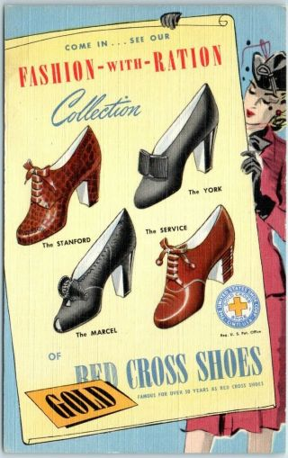 """Red Cross Shoes Advertising Postcard """" Fashion With Ration """" Wwii Linen 1943"""