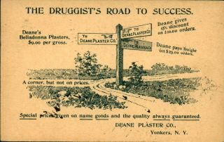 1897 Advertising Postcard The Druggists Road To Success Deane Plaster Co Yonkers