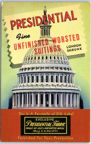 """Vintage Linen Advertising Postcard """" Presidential Fabric """" U.  S.  Capitol Dome 1939"""