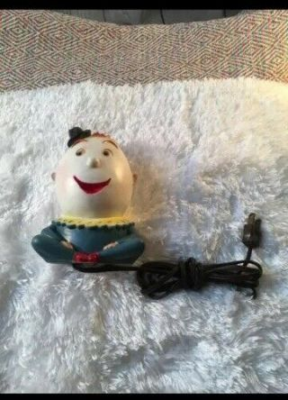 Vintage 1958 Mold Craft Humpty Dumpty Bank Lamp