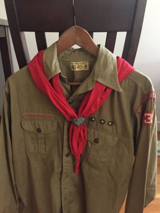 Vintage 1930s Union Made Bsa Boy Scouts Uniform Long Sleeve Shirt W Scarf