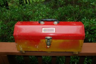 Vintage Hip/ Tombstone Roof Metal Toolbox W Lift - Out Tray