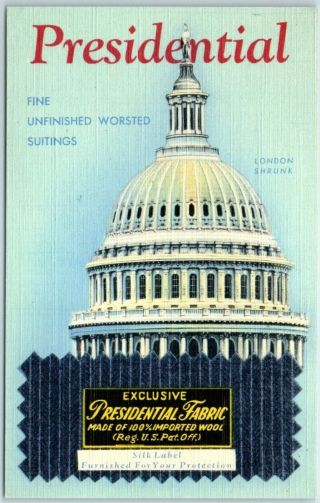 Vintage Advertising Postcard Presidential Fabric / U.  S.  Capitol Dome Linen 1950