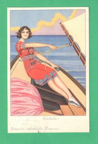 1928 Nanni Advertising Art Postcard Fernet - Branca Lady Sailboat