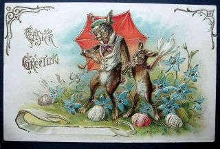 Easter 1900s Father And Son Bunny Rabbit - Umbrella Embossed 1910 - 20s