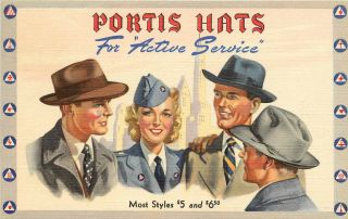 Linen Advertising Postcard Portis Hats For Active Service,  Men & Military Woman