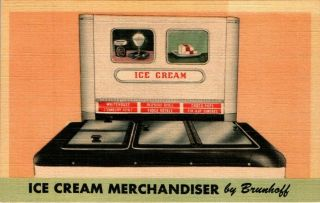 Ice Cream Merchandiser By Brunhoff Mfg Cincinnati Ohio Advertising Postcard 1950