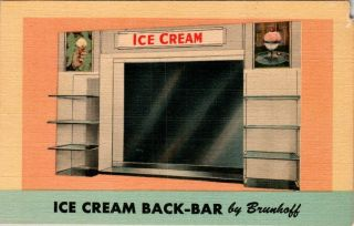 Ice Cream Back Bar By Brunhoff Mfg Cincinnati Ohio Advertising Postcard 1950