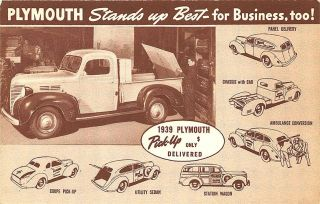 1939 Plymouth Commercial Cars Trucks Advertising Postcard