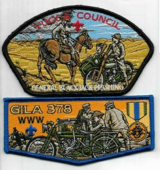 Boy Scout Oa 378 Gila Lodge Harley Davidson Flap And Yucca Council Gen Pershing