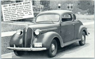 1937 Plymouth Coupe Car Advertising Postcard Lakes Motor Sales Monticello Ind.
