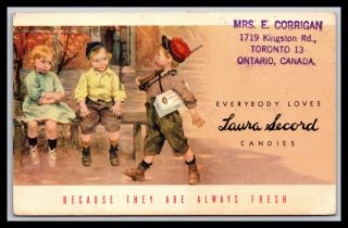 Scarce Ontario Canada Laura Secord Candies Advertising Child Soldier Postcard