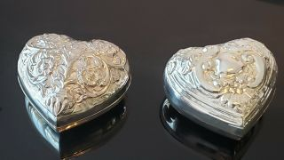 International Silver And Co. ,  Heart Shaped Silver Plated Jewelry Boxes