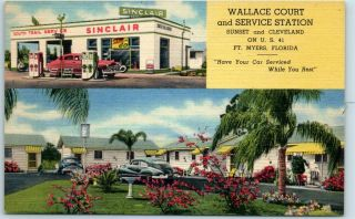 Fort Myers Fl Linen Advertising Postcard Wallace Court Service Station Roadside