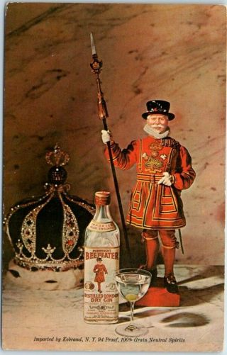Vintage Advertising Postcard Beefeater Gin Kobrand Importers C1950s