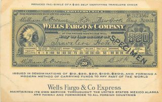 1912 Wells Fargo Fac - Simile Of $20 Traveler