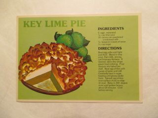Key Lime Pie Recipe Directions Continental Sized Postcard