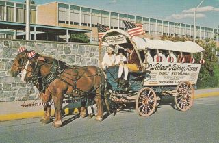 Lancaster Pa Willow Valley Farms Advertising Postcard Conestoga Wagon Horse Team