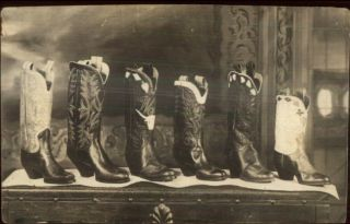 Leather Cowboy Boots Unidentified Advertising? Real Photo Postcard C1920