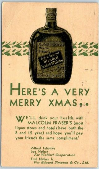 "Vintage Advertising Postcard "" Malcolm Fraser"