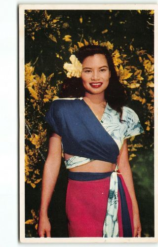 "Pretty "" Island Girl "" United Airlines Advertising Postcard Hawaii Th C 1950"