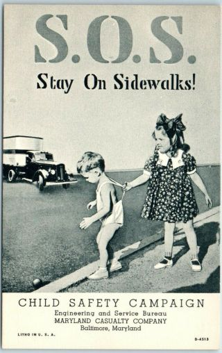 "1940s Linen Postcard Maryland Casualty Child Safety "" S.  O.  S.  - Stay On Sidewalks """