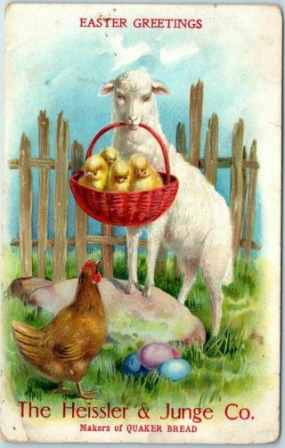 "Vintage Easter Greetings Advertising Postcard "" Heisler & Junge Co "" Quaker Bread"