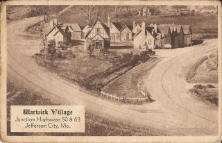 Jefferson City,  Missouri - Warwick Village - Roadside - 1939 Advertising,  Sepia