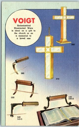 "1940s Linen Advertising Postcard Voigt Pulpit & Lectern Lamps "" Church Fixtures"