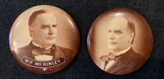 """1898 Pair 2 1/4 """" William Mckinley Presidential Campaign Buttons Pins Clasp"""