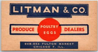 1940s Chicago Advertising Postcard Litman & Co.  Produce Dealers Poultry Eggs