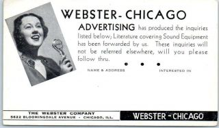 Chicago,  Illinois Postcard The Webster Company Sound Advertising C1940s