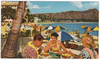 Postcard Waikiki Beach Honolulu Hi United Airlines Advertising 1950s