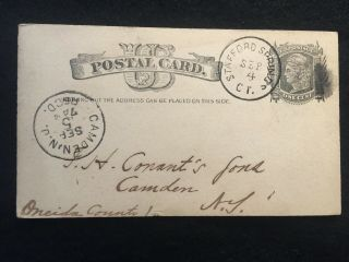 1882 G.  H.  Baker & Co.  Stafford Springs,  Conn.  Ux7 Us Advertising Postal Card