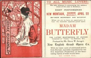 Madam Butterfly Brooklyn Ny Opera Theatre Promo C1900 Card/pc
