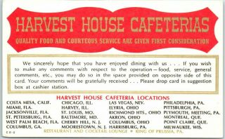 Vintage Advertising Postcard Harvest House Cafeterias Restaurant / Comment Card