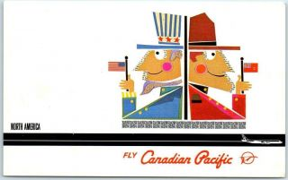 "C1960s Canadian Pacific Air Lines Advertising Postcard "" North America "" Uncle Sam"