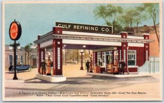 Vintage Advertising Postcard Gulf Refining Co.  Oil Gas Station C1940s