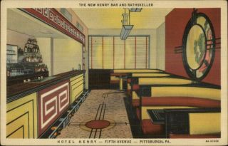 Pittsburgh Pa Hotel Henry Bar Great Art Deco Linen Postcard