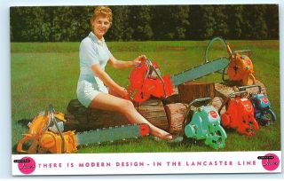 1987 Lancaster Chain Saws Modern Design Woodcutting Advertisement Postcard B35